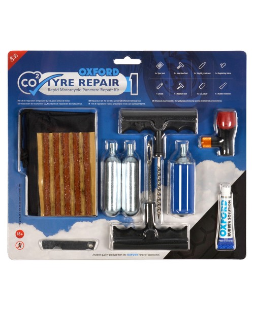 Oxford CO2 Tyre Repair Rapid Motorcycle Puncture Repair Kit